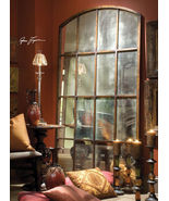 "82"" French Restoration Windowpane Hardware Antique Leaning Floor Wall Mi... - $745.80"