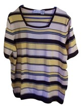 CROFT & BARROW Woman Striped Short Sleeve Cotto... - £13.64 GBP