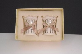 New in Box~Lenox Ecru China~Set of (2) Pierced Ribbon Votive Holders + C... - $24.95