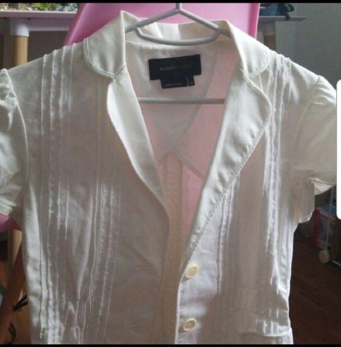 BCBG White Petticoat Style Short-Sleeved Jacket