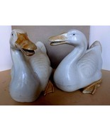 Fantastic Mid Century Pair of Ceramic Bisque Ducks Life Size C. 1950-1960 China - $665.00
