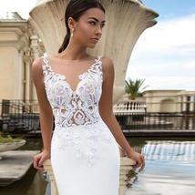 New Sexy Sleeveless Illusion Open Back Princess Mermaid Trumpet Wedding Dress image 2