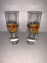 "Vintage Pair Of souvenir Hard Rock Cafe ""Save The Planet"" Chicago shot glass 4"" - $17.50"