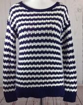 Ann Taylor LOFT Sz Small Sweater Navy Striped Open Weave Wool Angora Blend - $14.33