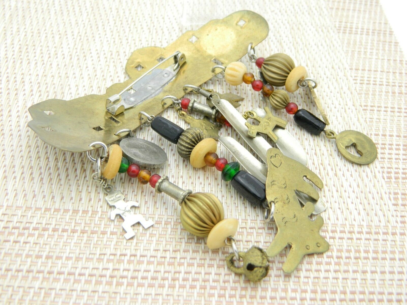 Southwest Mix Material Dangle Brass Charm Pin Brooch Vintage image 4