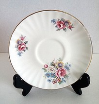 """NEWHALL STAFFORDSHIRE 5.5"""" SAUCER PLATE BONE CHINA WHITE PINK BLUE ROSES - $13.20"""