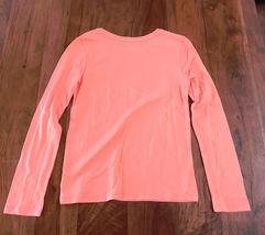 Gap Kids Girls Tee Shirt 12 Orange Long Sleeve Crew Neck LOVE Graphic Cotton New image 4