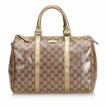 Pre-Loved Gucci Brown Light Coated Canvas Fabric GG Supreme Boston Bag I... - $524.60