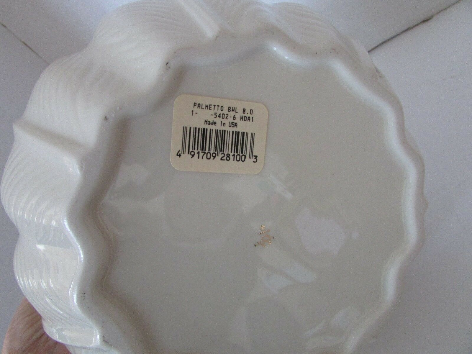 "LENOX PALMETTO BOWL 8""W WITH STICKER VERY NICE LEAF PATTERN MADE IN USA 5-3/4""H"