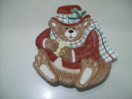 Vintage Fitz & Floyd Essentials Snack Therapy Christmas Bear Canape Plate  - $17.82