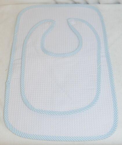 EllieO Seersucker Bib And Burp Cloth Set White With Blue Striped Trim