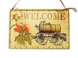 PANDA SUPERSTORE Retro Car Metal Welcome Sign Home Front Door Porch Decor Shop D