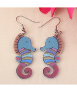 Sea horse cute lovely printing drop earrings acrylic new design spring/s... - $9.19