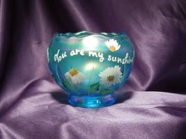 Fenton Hand Painted Daisy Sunshine Flower Iridescent Teal Glass Art Arti... - $44.55
