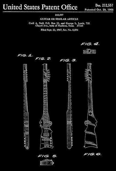 Primary image for 1968 - Guitar - C. A. Null - Patent Art Poster