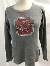 "Nike Gris Gaufre Tissage T-Shirt Manches Longues "" Ncsu Logo "" Femmes Ta... - $12.95"