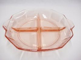 Anchor Hocking Pink Princess Depression Glass 4 Part Relish Dish Handled... - $19.79