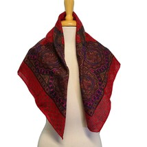Vintage Challis By Berkshire Scarf Square, paisley Red - $11.93