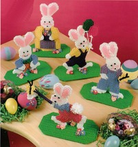 Plastic Canvas Easter Bunny Favors Family Of 5 Papa Mama Kids On Base Patterns - $11.99