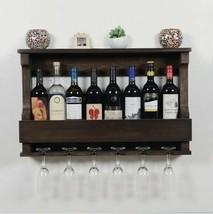Wall Mounted Wine Rack 8 Bottle 6 Wine Glasses Decorative WineRack - Wenge - €83,16 EUR