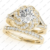 Superb Bridal Engagement Ring Set  Round Cut White CZ 925 Silver Yellow ... - $96.99