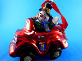 NWT Holiday Home Blown Glass Snowman in Red Car w Presents Christmas Ornament - $7.61