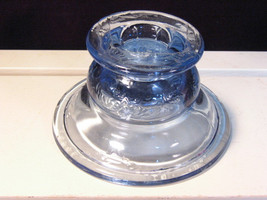 Vintage Blue Madrid Recollections Candle Holder Depression Glass, 1970s ... - $14.99