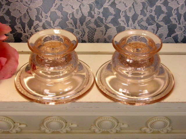Primary image for Vintage Pink Madrid Recollections Glass Candle Holders, Depression Glass, 1970s