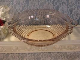 Vintage Mayfair Open Rose Pink Handled Serving Bowl Depression Glass, 19... - $34.99