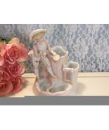 Antique Bisque Figurine Germany Boy with Nest Eggs Vase Match Holder Con... - $49.99