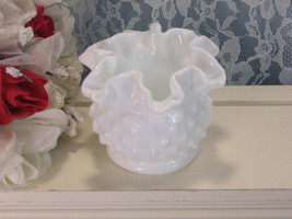 Vintage Fenton Hobnail White Milk Glass Ruffled Bowl or Bon Bon, Crimped... - $17.99