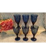 Noritake China Crystal Sweet Swirl Dark Cobalt Blue Wine Water Goblet Se... - $79.99