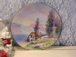 Antique Noritake Hand Painted Nippon Pastel Lake Cottage Plate, 1911 Vin... - $99.99