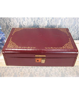 Farrington Vintage Jewelry Box, Maroon Gold Pattern, Mid Century, Maroon... - $19.99