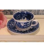 Vintage Arabia Finland Flow Blue White Demitasse Tea Cup and Saucer, Min... - $29.99