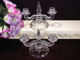Fostoria Glass Crystal Colony Double Candle Holder, Set of Two, Vintage ... - $49.99