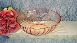 Rosaline Pink Swirl Arcoroc Durand Large Salad or Serving Bowl, Vintage ... - $29.99