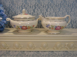 Homer Laughlin Eggshell Nautilus Floral Needlepoint Cream and Sugar Set with Lid - $19.99