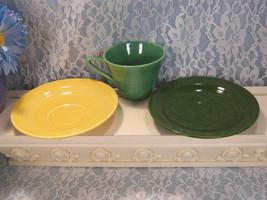 Vintage Homer Laughlin Harlequin Cup Saucers, Yellow, Green, Dark Green, 3 Piece - $30.99