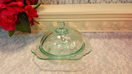 Vintage Aqua Light Teal Green Madrid Recollections Butter Dish, Indiana Glass Co - $39.99