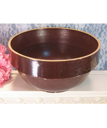 Antique Yellow Ware Stoneware Pottery Primitive Brown Mixing Bowl, Late ... - $29.99