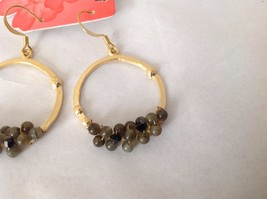 NEW Geranium Gold Toned Dangling Earrings Dark Gray Black Stones Ring Earrings image 3
