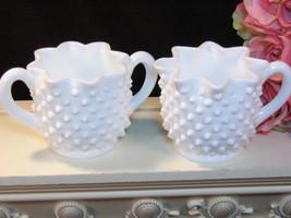 Vintage Fenton Hobnail White Milk Glass Cream and Sugar, 1960s Art Glass... - $19.99
