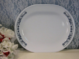 Corelle Old Town Blue Oval Serving or Meat Platter, Vintage Mid Century Kitchen  - $18.99