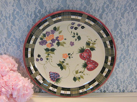 Oneida China Strawberry Plaid Dinnerware, Large Chop Plate, Vintage 1990  - $29.99
