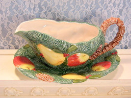 Fitz and Floyd Woodland Gravy Server with Liner Plate, Vintage Christmas... - $49.99