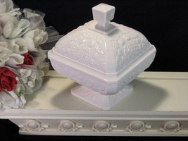 Vintage Jeanette Stipple Acorn Shell Pink Milk Glass Covered Candy Dish,  - $49.99