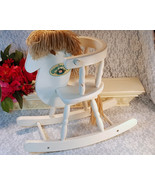 Vintage Cabbage Patch Kids White Wood Rocking Horse By Coleco, 1986, Har... - $69.99
