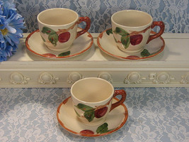 Franciscan Pottery Apple Cup and Saucer, Set of Three, Vintage 1950s Dinnerware - $39.99