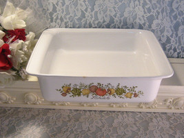 Vintage Corning Ware Spice of Life Square Baker Brownie, Glass Cookware Bakeware - $24.99